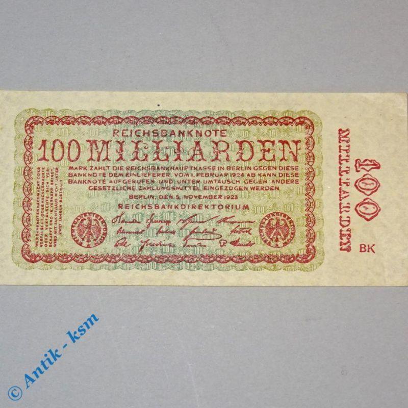 100 Milliarden Mark , Reichsmark Schein , Ros 130 , Firmenzeichen = BK , kfr/unc