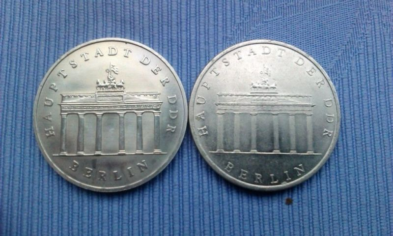 2 x 5 Mark DDR Gedenkmünze Brandenburger Tor 1971 matt & 1987 glänzend L@@K