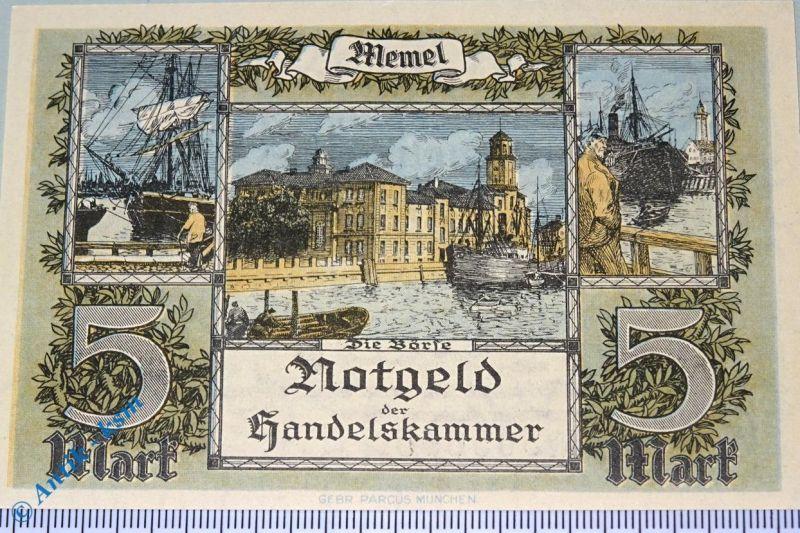 Notgeld der Handelskammer Memel , 5 Mark, Rosenberg MEM-4 , Kleipeda , kfr/unc