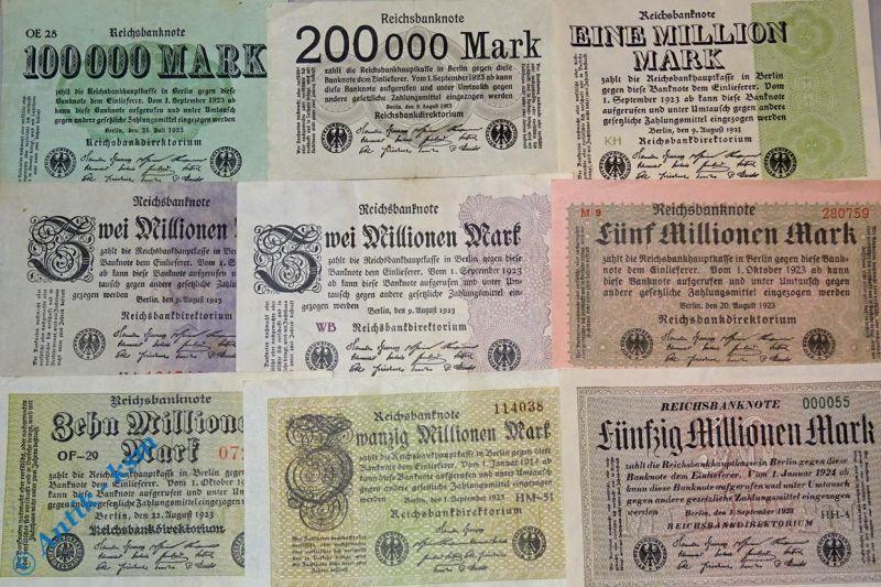 9 Scheine, Lot Inflations Banknoten, alles verschiedene, 100 T. bis 50 Million