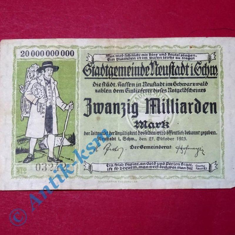 Großnotgeld Stadtgemeinde Neustadt , 20 Milliarden Mark Scheinen vom 27.10.1923