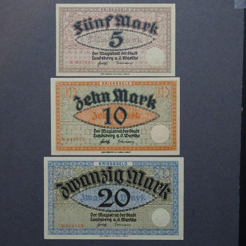 3 x Top Notgeld: Landsberg a. d. Warthe/Gorzów Wielkopolski, 5, 10 und 20 Mark