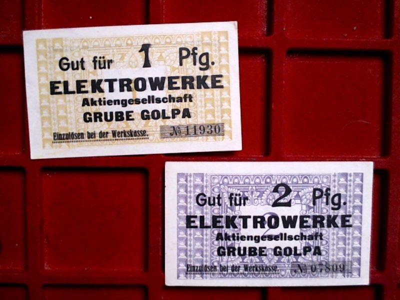 A   2 x Notgeld Elektrowerke Grube GOLPA, 1 und 2  Pfennig,  kfr/unc