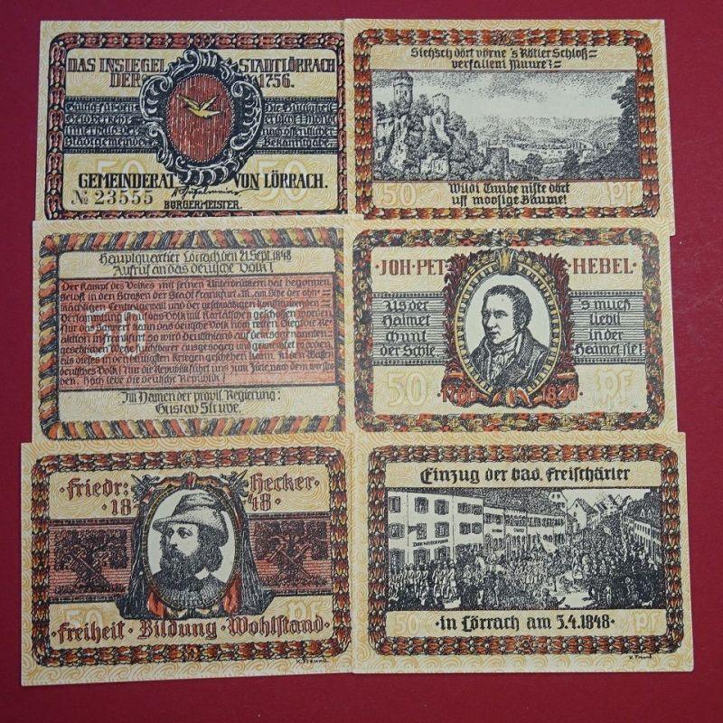 6 x Notgeld Stadt Lörrach , Satz mit 6 Scheinen , M/G 813.1  in kfr/unc