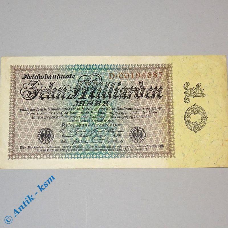 10 Milliarden Mark , Reichsmark Schein , Ros 113 a , Reichsdruck D , Erhaltung