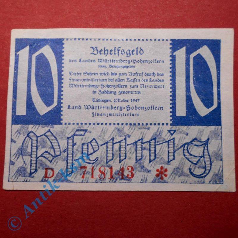 Alliierte Besatzung, Württemberg Hohenzollern ,10 Pfennig vom Okt. 1947