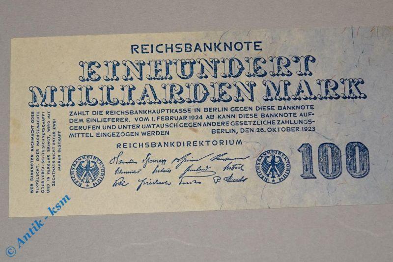Reichsbanknote 100 Milliarden Mark , Rosenberg 123 , Reichsmark , Banknote 1923