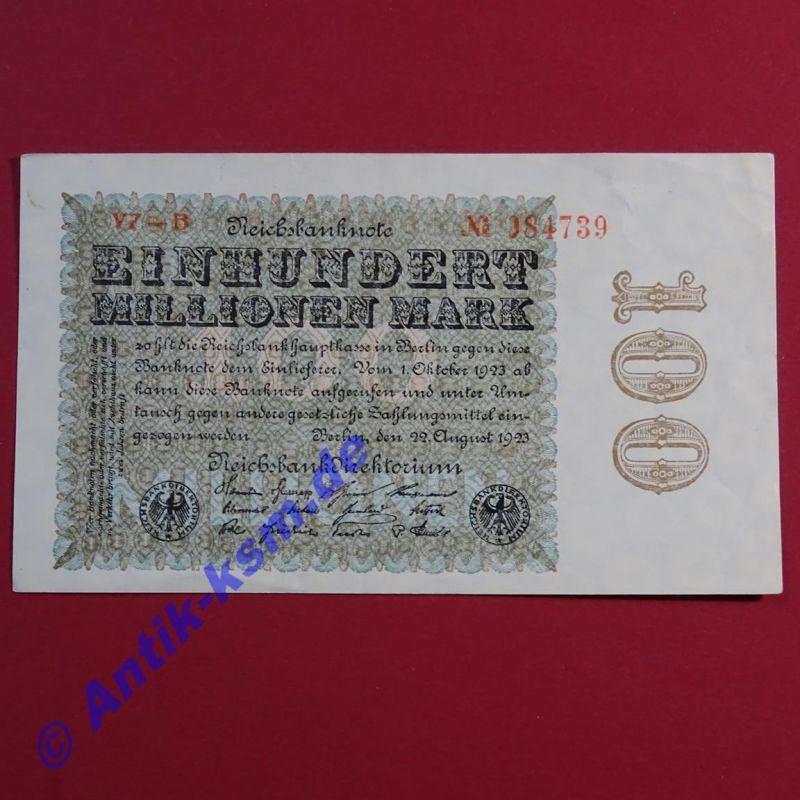 Ros 106 S , Reichsbanknote über 100 Millionen von 1923 , kfr - sehr selten