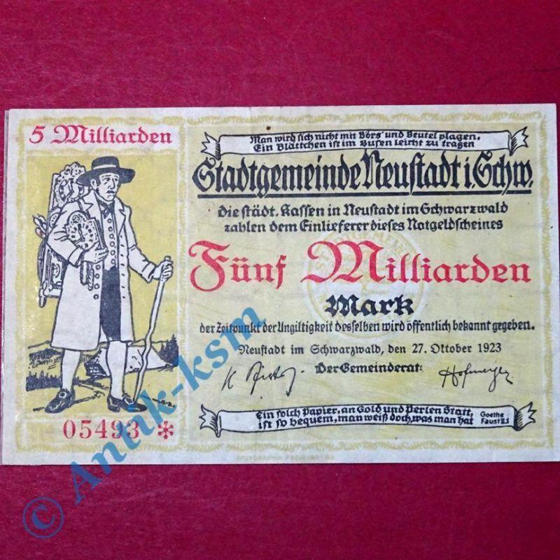 Großnotgeld Stadtgemeinde Neustadt , 5 Milliarden Mark Schein vom 27.10.1923