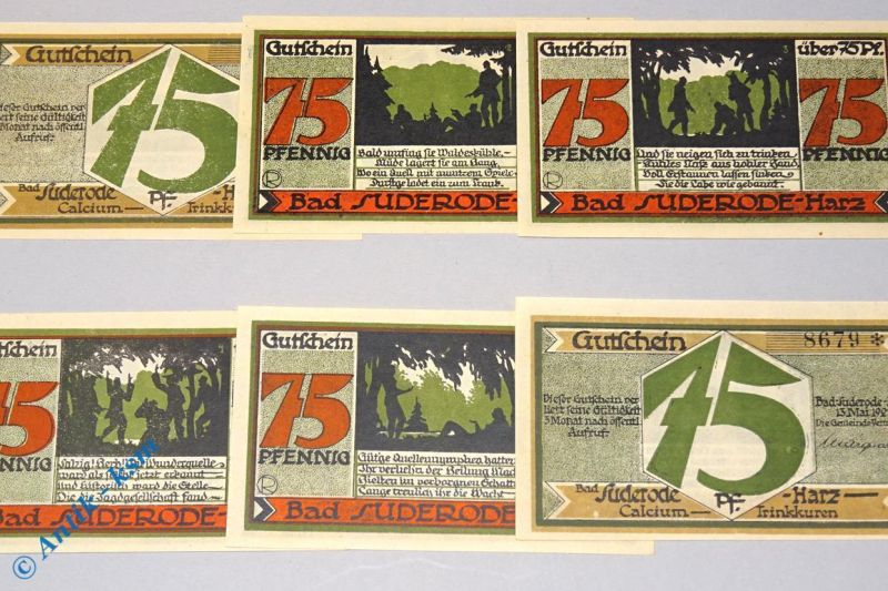 6 x Notgeld Suderode , german emergency money , M/G 1292.  in kfr/unc