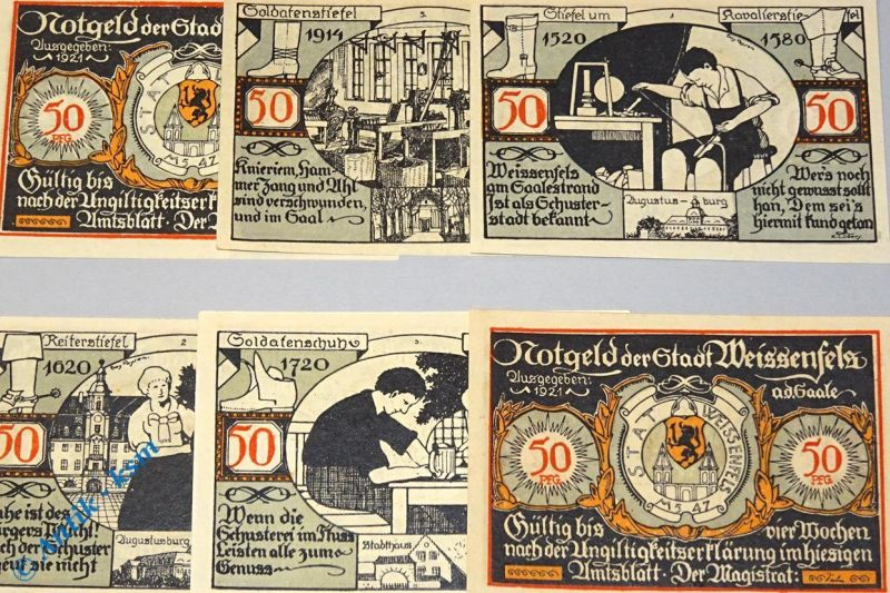 6 x Notgeld Weissenfels ,  german emergency Money , M/G 1403.2 , kfr/unc
