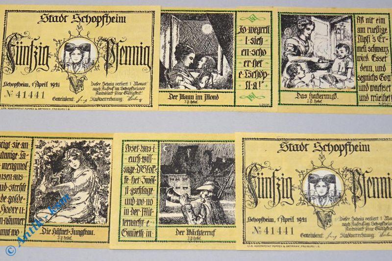 6 x Notgeld Schopfheim ohne Gründruck , german emergency money , M/G 1201.1  kfr