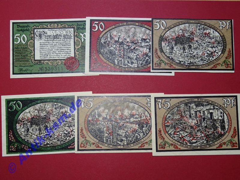 6 x Notgeld Wasungen , Brandnotgeld , german emergency money , kfr/unc