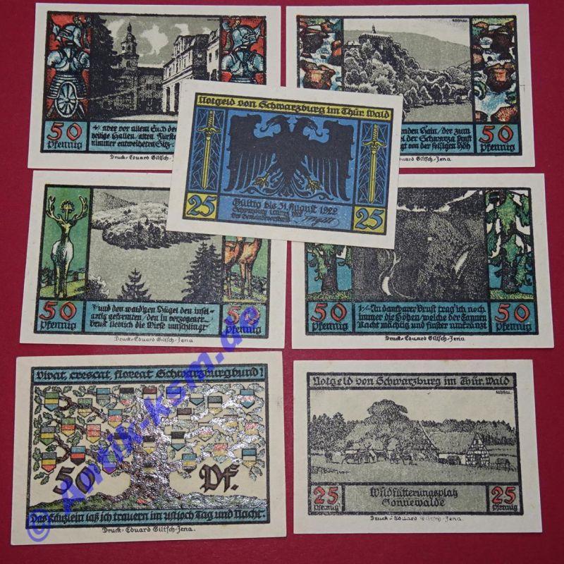 7 x Notgeld Stadt Schwarzburg, german emergency Money , M/G1208.2  , kfr/unc