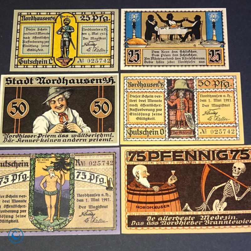 6 x Notgeld der Stadt Nordhausen ,  german emergency money , M/G 987.1 , kfr/unc