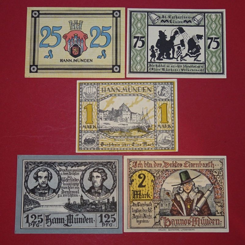 5 x Notgeld Hann Münden , german emergency money , 5 Scheine komplett in kfr/unc