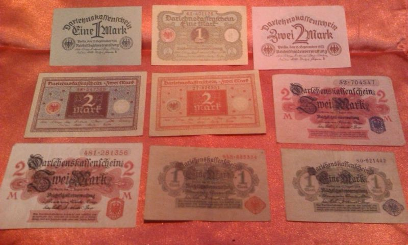9 verschiedene Banknoten / Darlehenskassen Scheine , um 1920 , alle verschieden