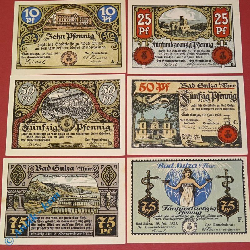 6 x Notgeld Bad Sulza , german emergency money , M/G 1304.1  in kfr/unc