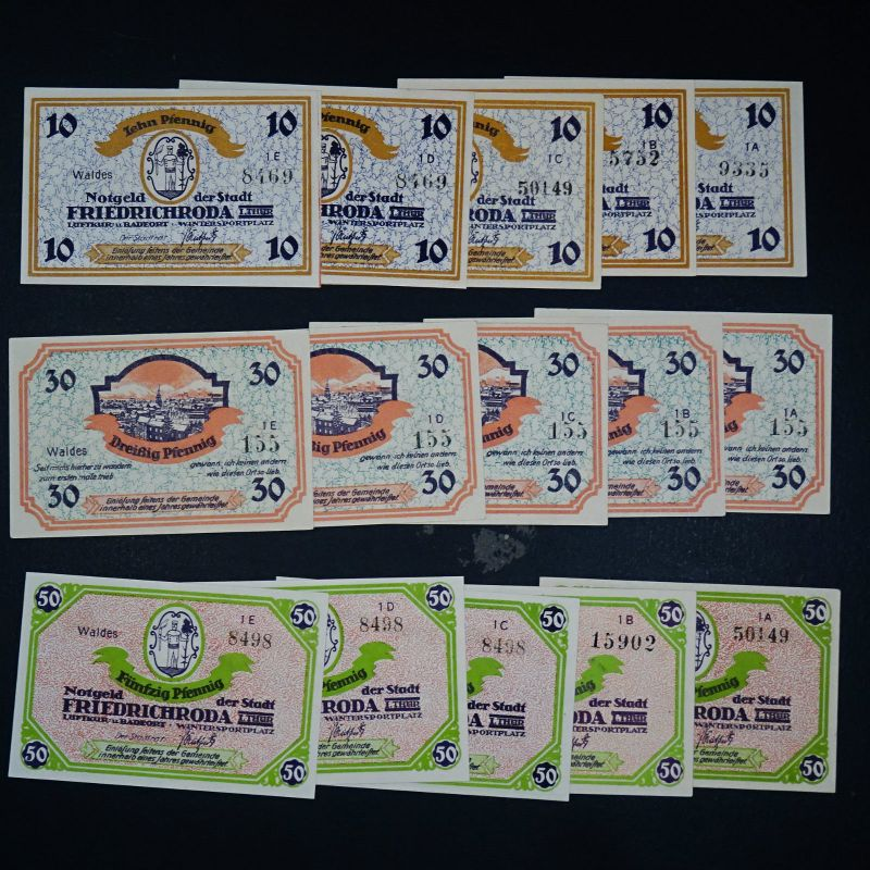 A  15 x Top Notgeld Friedrichsroda, german emergency money unc komplett