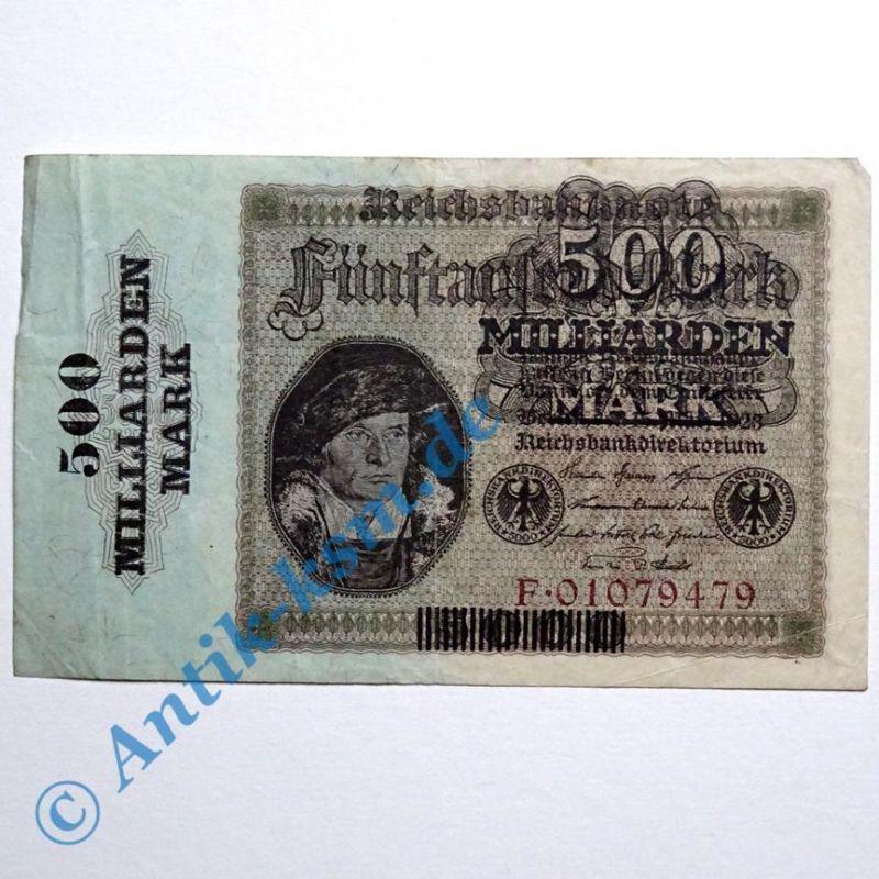 A seltener : Ros 121 A , Banknote 500 Milliarden Mark Überdruck 1923 Reichsdruck
