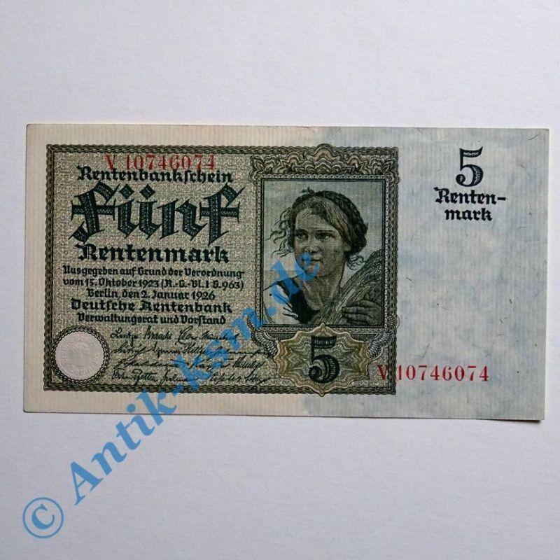 A seltener : Ros 164 B, 5 Rentenmark von 1926 , Kn = 8 St. , fast kassenfrisch