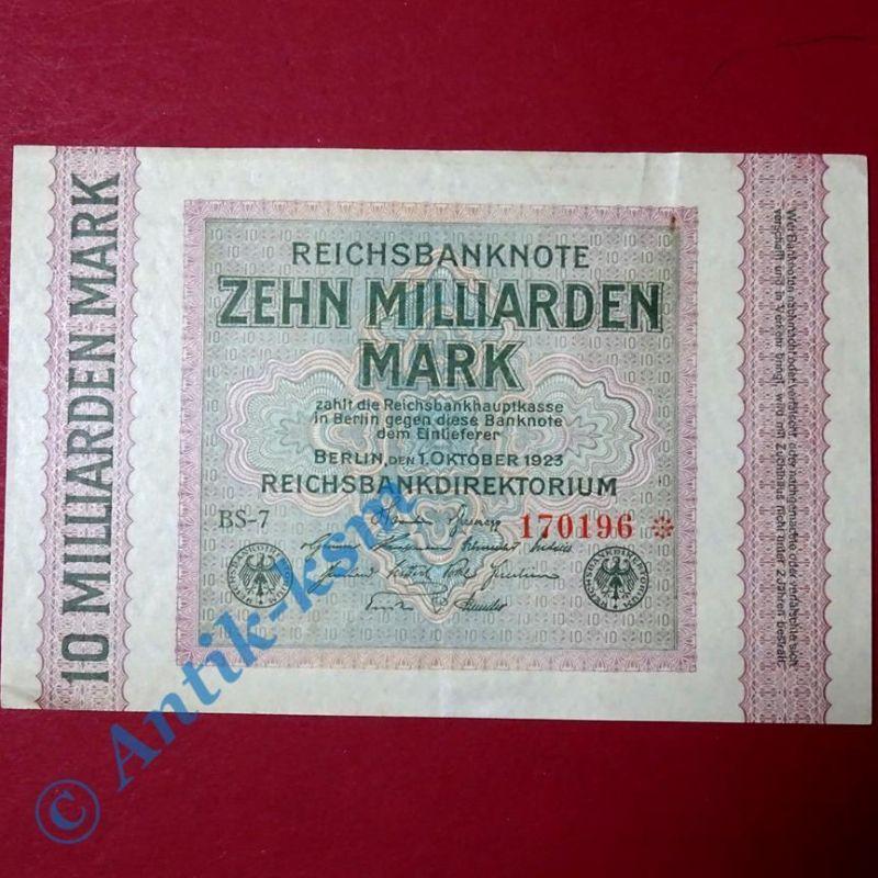 Reichsbanknote über 10 Milliarden Mark , Rosenberg 114 E , WZ = Rauten , selten
