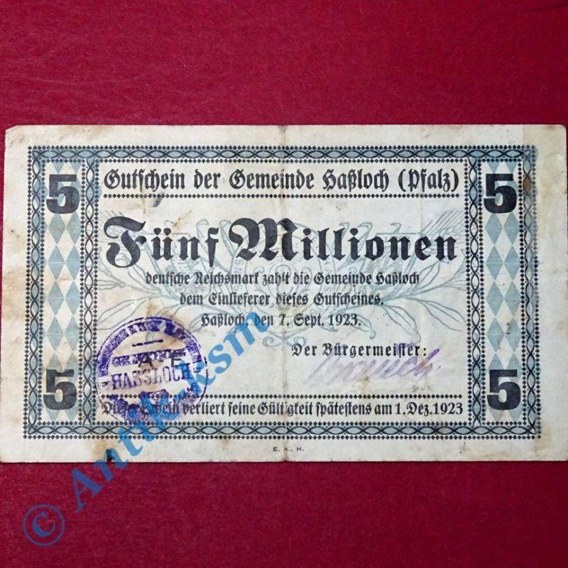Großnotgeld Hassloch , Gemeinde , 5 Millionen Mark Schein vom 07.09.1923 , Pfalz