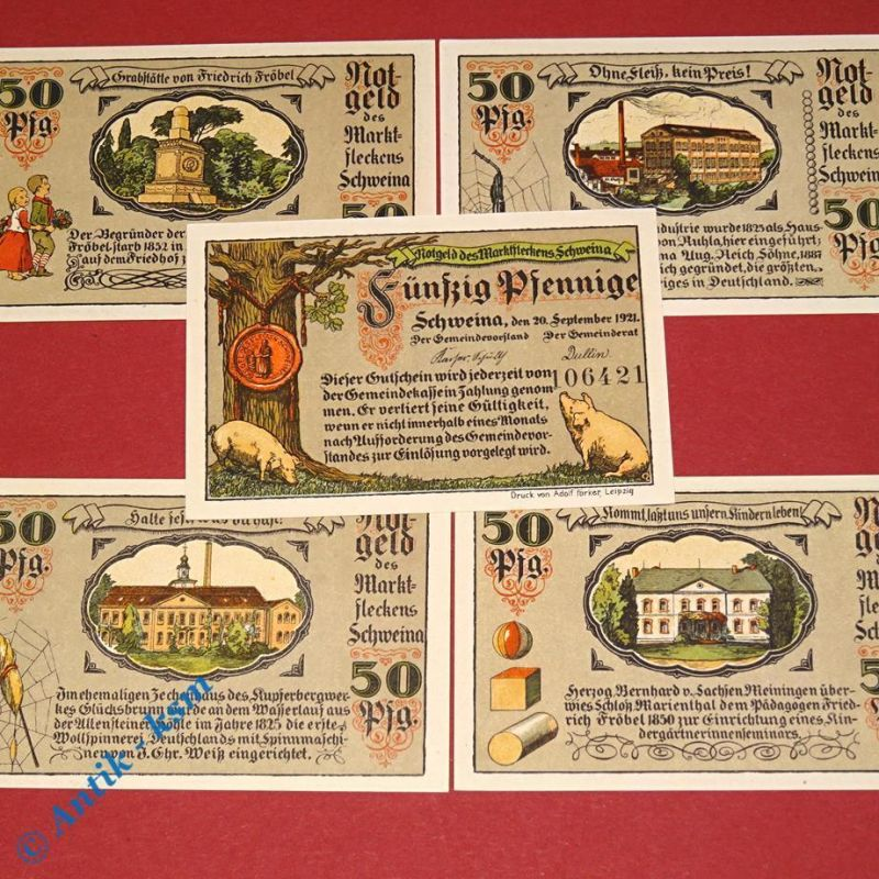 5 x Notgeld Schweina , german emergency Money , M/G 1211.1 , kfr / unc