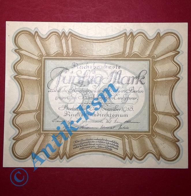 TOP Banknote über 50 Mark / Reichsmark, Eierschein von 1918 , Ros 57 A , kfr/unc