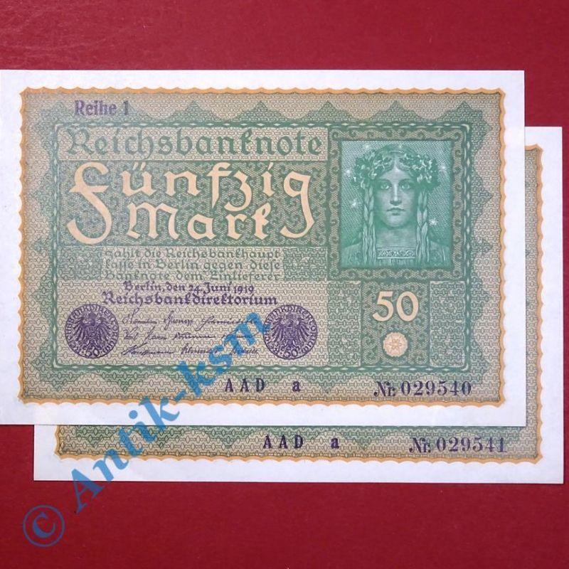 2 x Banknoten über 50 Mark / Reichsmark,