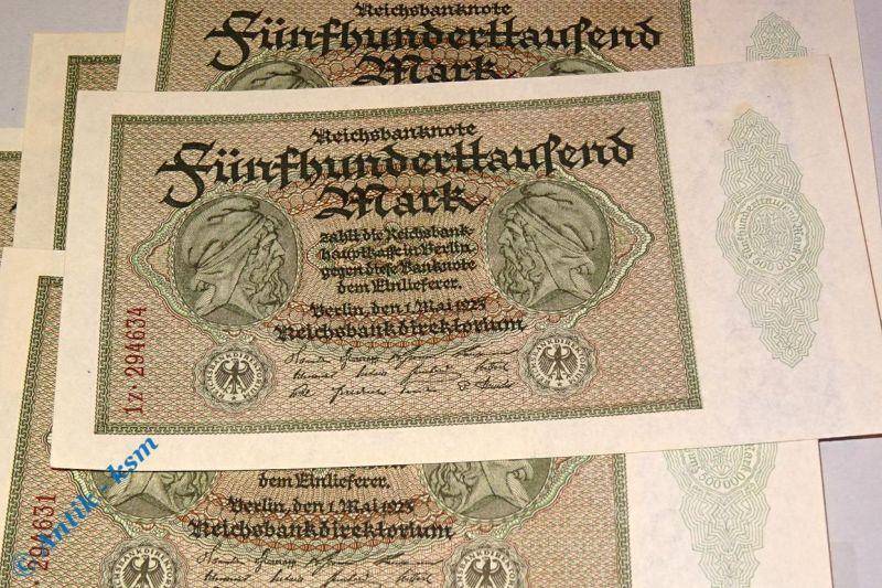 1 x Reichsbanknote über 500.000 Mark , Kn. 1 x links , Ros. 87 f / DEU 99 f, kfr