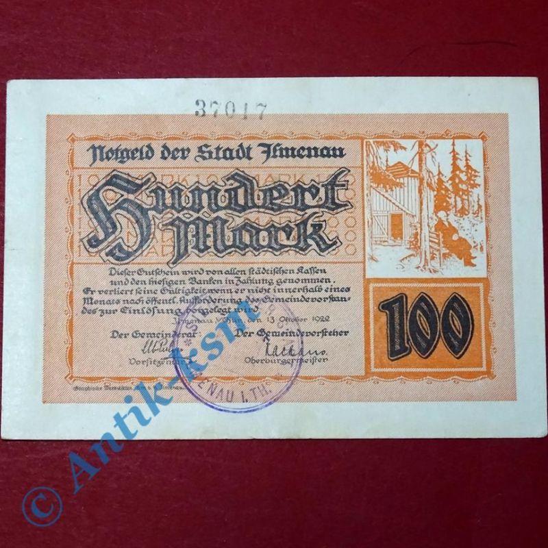 Notgeld Ilmenau , 100 Mark Schein vom 13.10.1922 , Großnotgeld fast kfr/unc