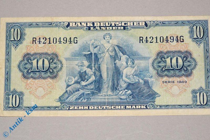 Banknote über 10 Mark Bank deutscher Länder , Ros 258 , Kopfgeld , von 1949
