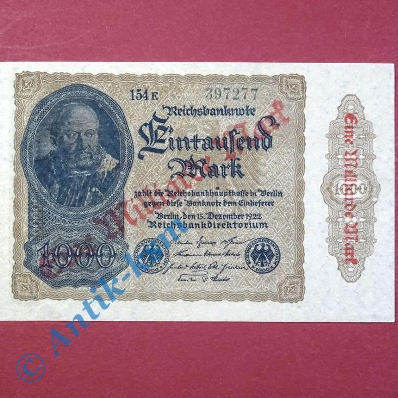 1 x Banknote über 1 Milliarde Mark , Überdruck, Ros. 110 G , von 1922 , kfr/unc