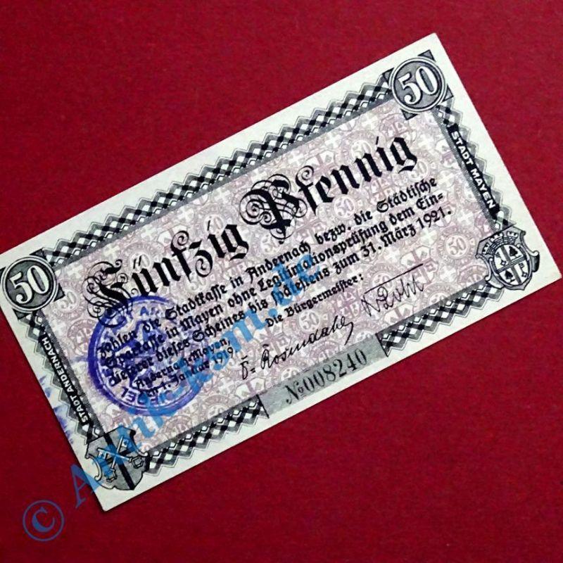 A Notgeld Andernach , Einzelschein über 50 Pfennig , Tieste 0125.05 , von 1919