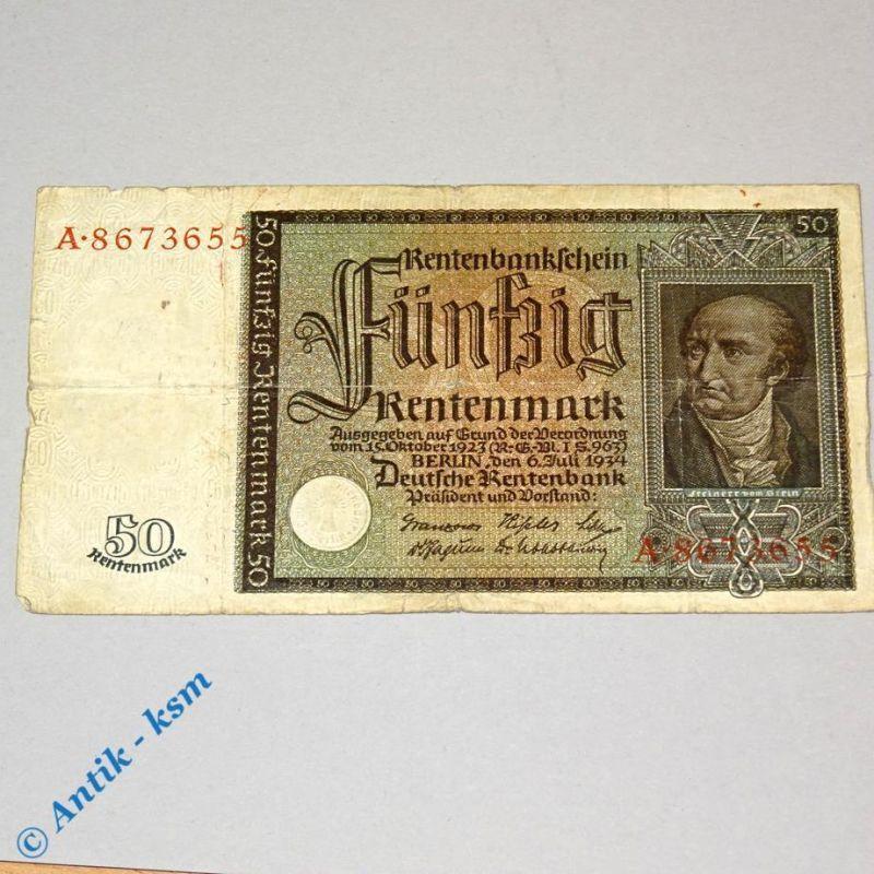50 Renten Mark , Rentenbank Schein von 1934 , Banknote , Ros 165 , Serie A