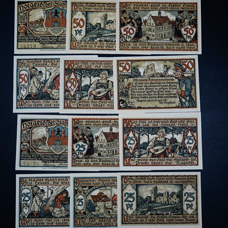 A  12 x Top Notgeld Raghun german emergency money unc 6 x 25 + 6 x 50 Pf. komple