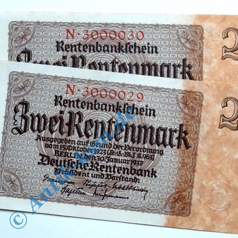 A 2 x Rentenmarkschein , Reichsdruck : 7-Stellig FORTLAUFEND  kfr/unc , selten !