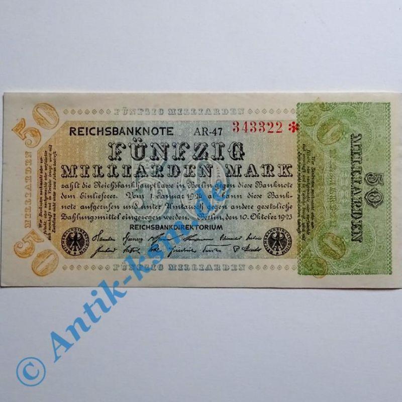 A seltener : Ros 117 E , 50 Milliarden Mark von 1923, seltenes WZ , > Erhaltung
