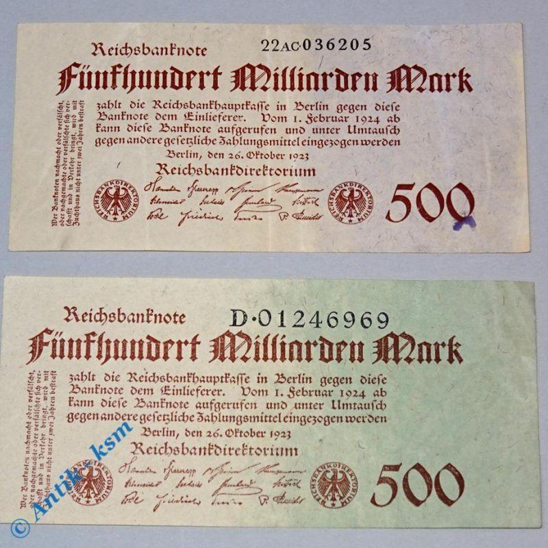 2 x 500 Milliarden Mark , Reichsmark Scheine , Ros 124 , 2 Varianten , b und d