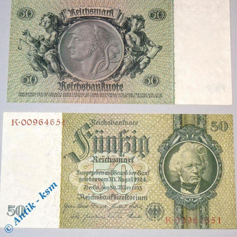 1 x Reichsbanknote 50 Mark , Kriegsdruck 2 , Rosenberg 175 d , Reichsmark , kfr