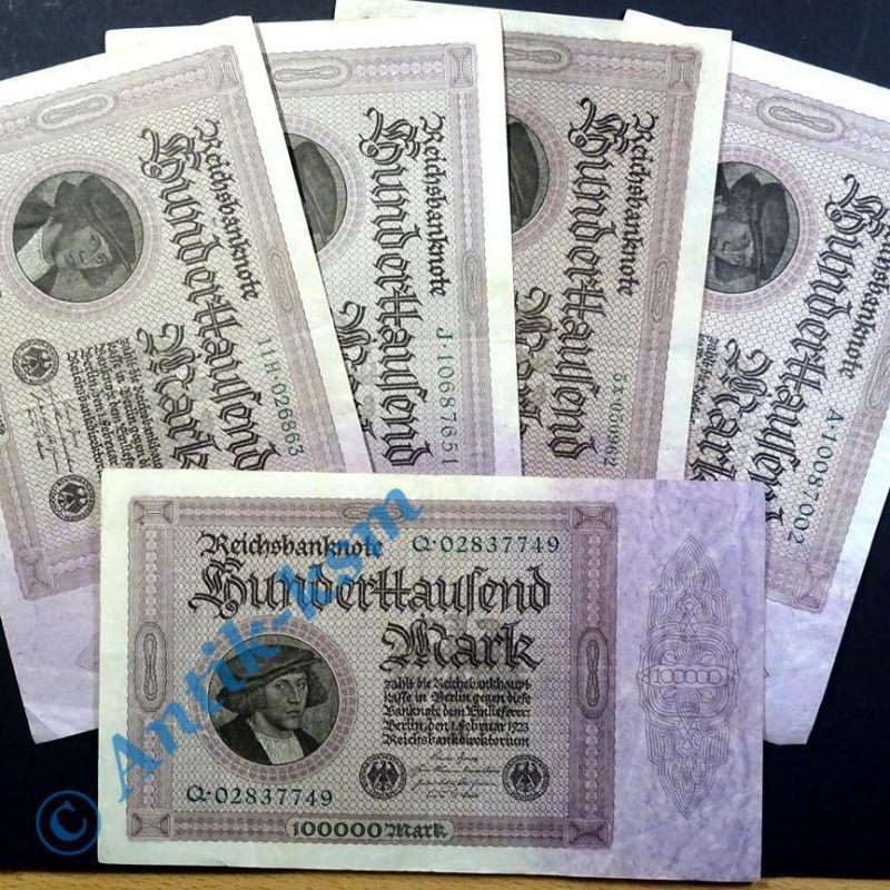 5 x Reichsbanknote 100.000 Mark , Kaufmann Gisze , von H. Holbein vom 01.03.1923