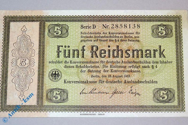 5 Reichsmark , Konversionskassenschein 1933 nicht perforiert/gelocht , kfr/unc
