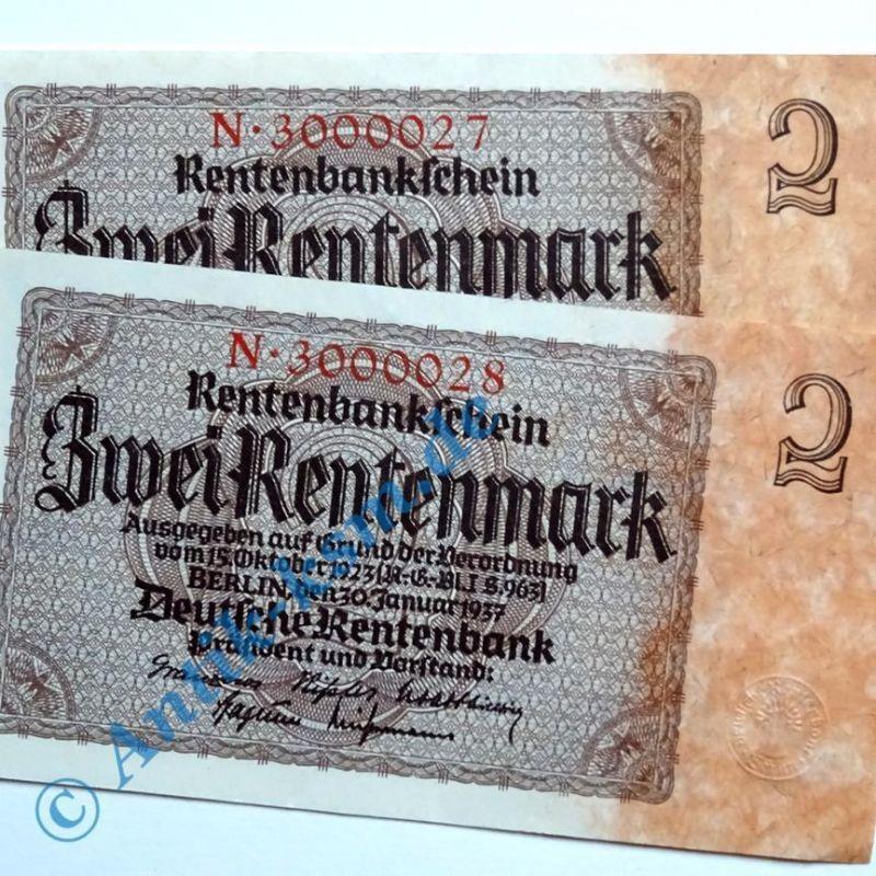 2 x 2 Rentenmark 1937 , Reichsdruck : 7-Stellig FORTLAUFEND  kfr/unc , selten