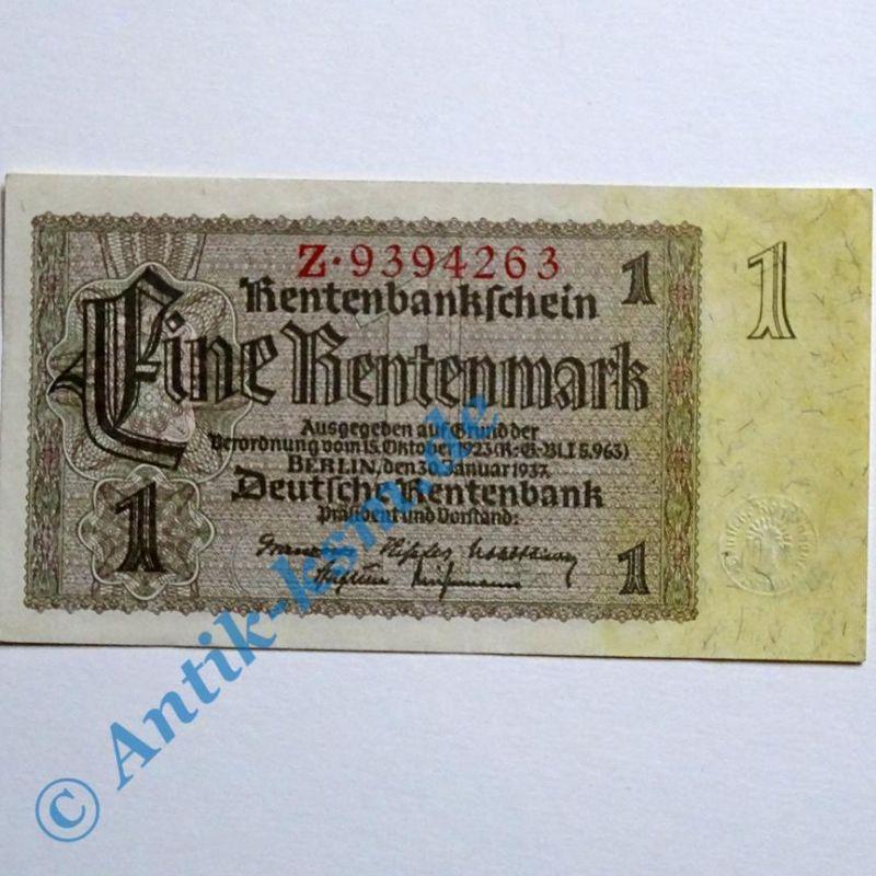 A 1 Rentenmark von 1937 , Reichsdruck : 7-Stellig ,  kassenfrisch / unc , selten