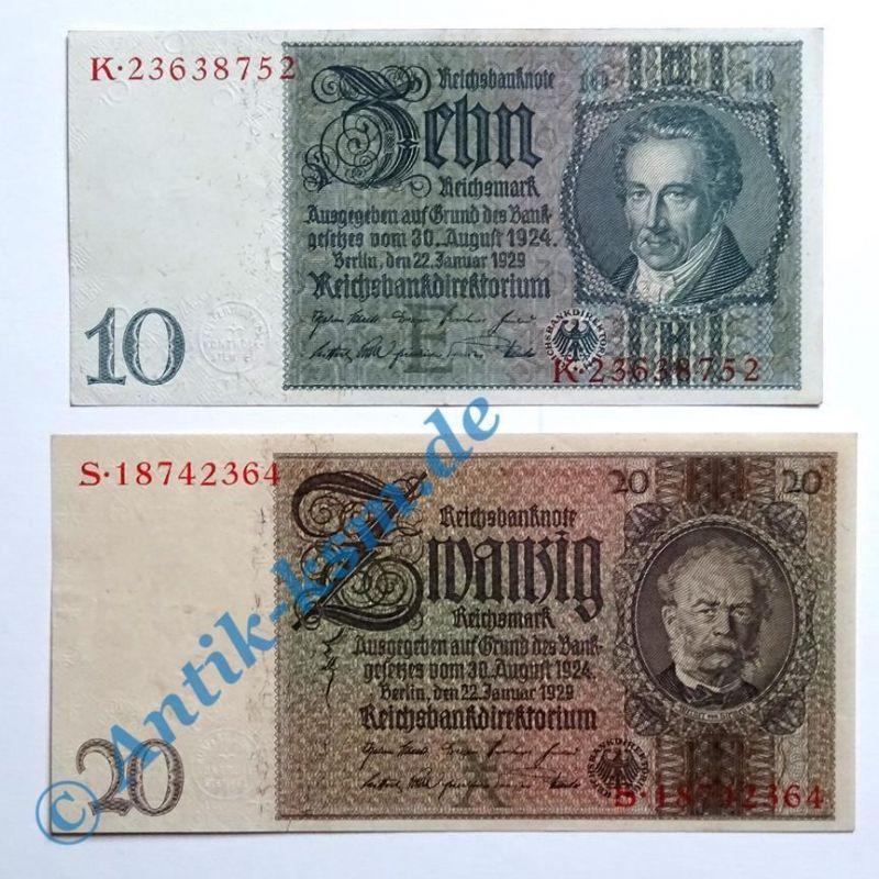 Top - Lot : 2 Reichsbanknoten : 10 und 20 Mark von 1929 > kassenfrisch / unc <