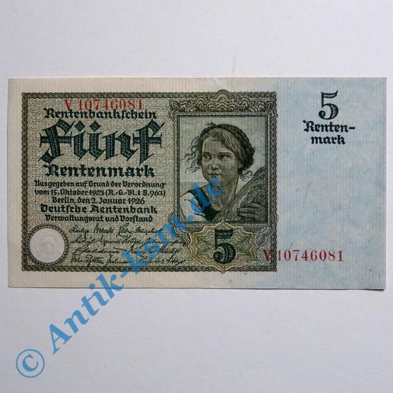 A seltener : Ros 164 B, 5 Rentenmark von 1926 , Kn= 8 St.  fast kassenfrisch (2)