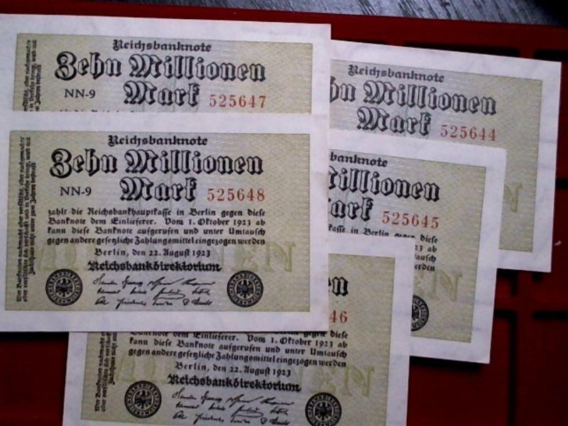 - Lot Inflation deutsches Reich : 5 x 10 Millionen Mark von 1923 - fortlaufend -