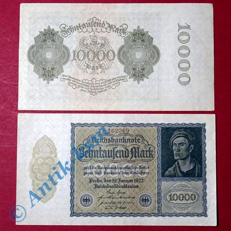 1 x Reichsbanknote über 10.000 Mark , Rosenberg 69 C , Banknote von 1922 kfr/unc