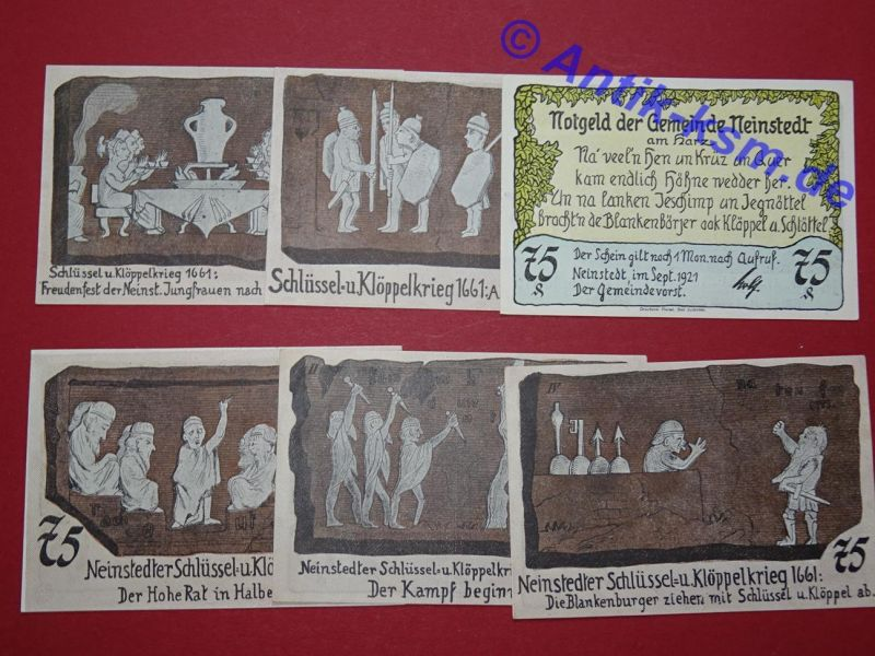 6 x Top Notgeld Neinstedt ,115 x 78 ,  german emergency money unc/kfr. komplett